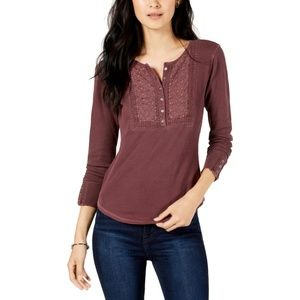Lucky Brand Womens Cotton Embroidered Henley Top